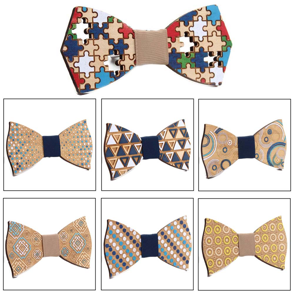 Men's Adjustable Formal Wooden  Vintage Colorful  Print Bow Tie Butterfly Bowtie Tuxedo Bows Groom Prom Party Accessories Gift