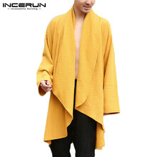 Solid Color Men Outerwear Vintage Irregular Coats Leisure Cotton 2021 Open Stitch Long Sleeve Chinese Style Mens Trench INCERUN