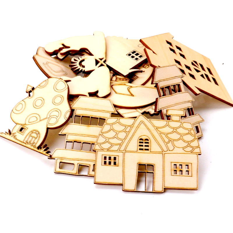 5Pcs Wooden House Lace Pattern Natural Scrapbooking Craft For Embellishments Handmade DIY Handicraft Home Decoration 60-100mm