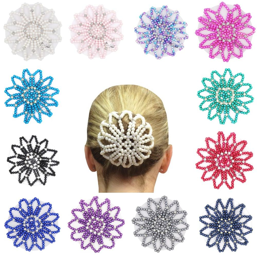 Furling Girl 1 PC Hand Made Crochet Pearl Elastic Hair Nets Ballet Dancing Snood Net Hair Bun Covers Ornament For Ladies
