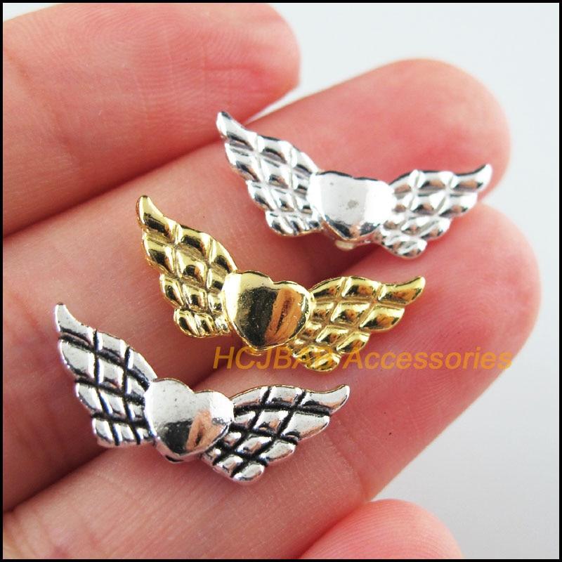 30 шт Ретро, Тибетский Серебряный тон цвета: золотистый, серебристый Цвет животных крылья Spacer Бусины 9x22mm