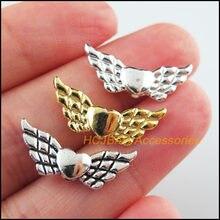 30 pçs retro tibetano prata tom ouro cor prata animal asas espaçador grânulos encantos 9x22mm