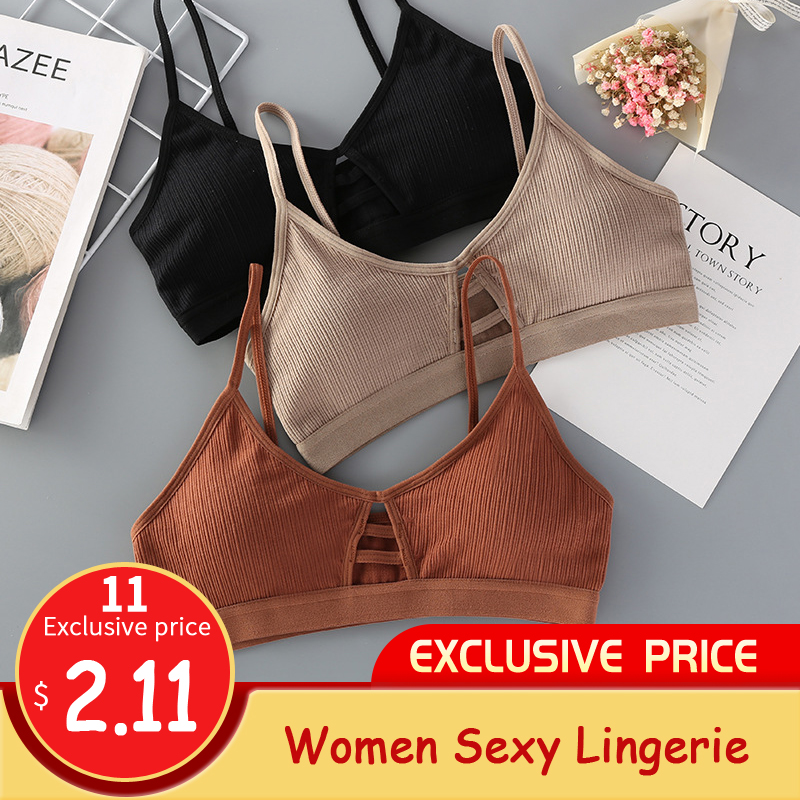 GUMPRUN Thin Strap <font><b>Bralette</b></font> <font><b>Sexy</b></font> Lingerie Seamless Hollow Out Soft Bras For Women Wireless Push Up Bra Comfortable Underwear image