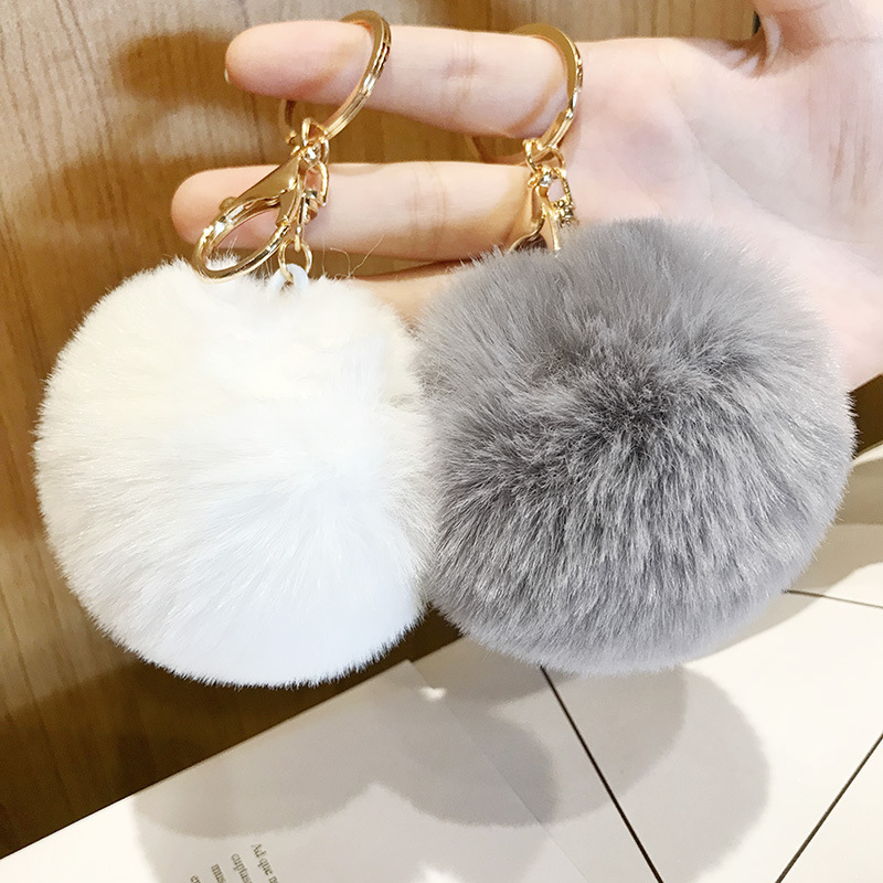 Korean Version Of The New Imitation Lazy Rabbit Hair Ball Car Key Chains Pendant Lady's Bag Pendant Key Rings Student Gift