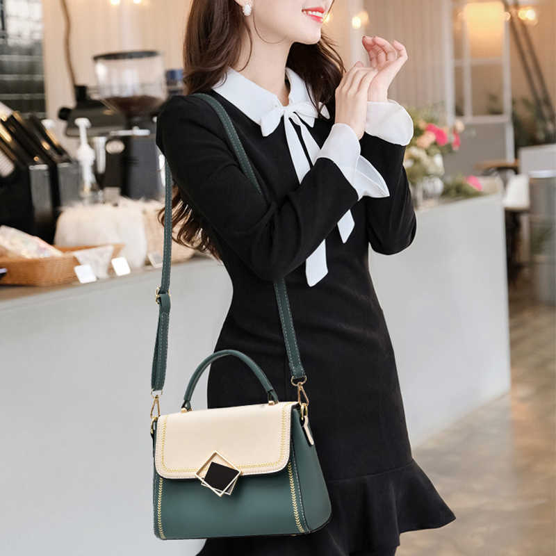 Bolsos y bolsos de lujo para mujer, bolsos cruzados con decoraciones de cerradura, bolsos de Asa superior, bandolera de hombro de moda para mujer