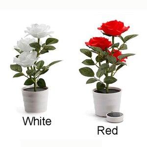 Image 5 - Planta Artificial Led rosa para balcón, jardín, jardín, Lámpara decorativa para mesita de noche, alimentada por energía Solar, maceta de flores para dormitorio blanca