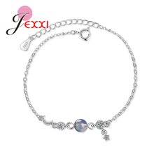 Korean Trend Women 925 Sterling Silver Sweet Cubic Zircon Moon Star Link Chain Charm Hand Bracelets Birthday Gifts Jewelry(China)