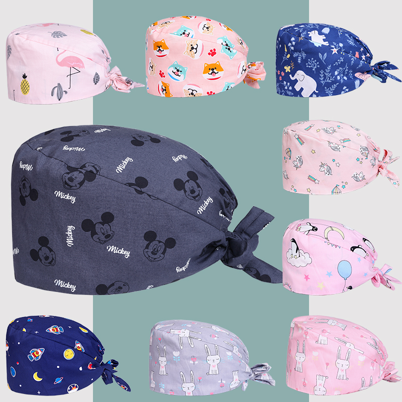 Clearance Patterns Surgical Caps Medical Scrub Cap Veterinarian Nurse Doctor Work Skull Caps Cotton Summer Dentist Work Hats