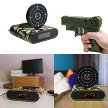 Gun Alarm Clock Gadget Target Laser Shoot Recordable Digital Electronic Desk Clock Table Watch Funny Clock Snooze For Kids(China)