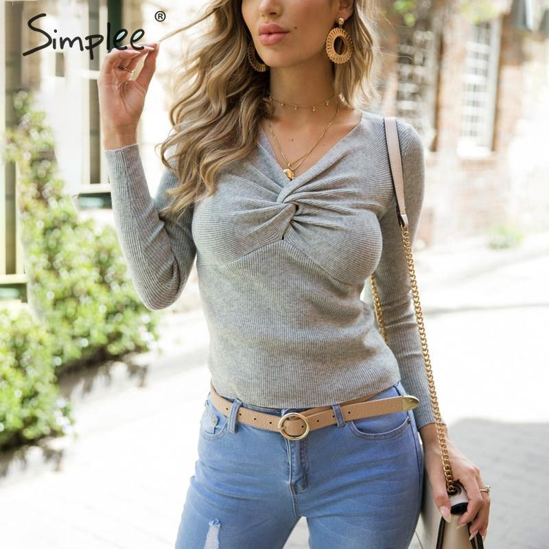 Simplee Criss Cross V Neck Knitted Sweater Women Long Sleeve Winter 2018 Pullover All Match Jumper Pull Femme Pink Sweater