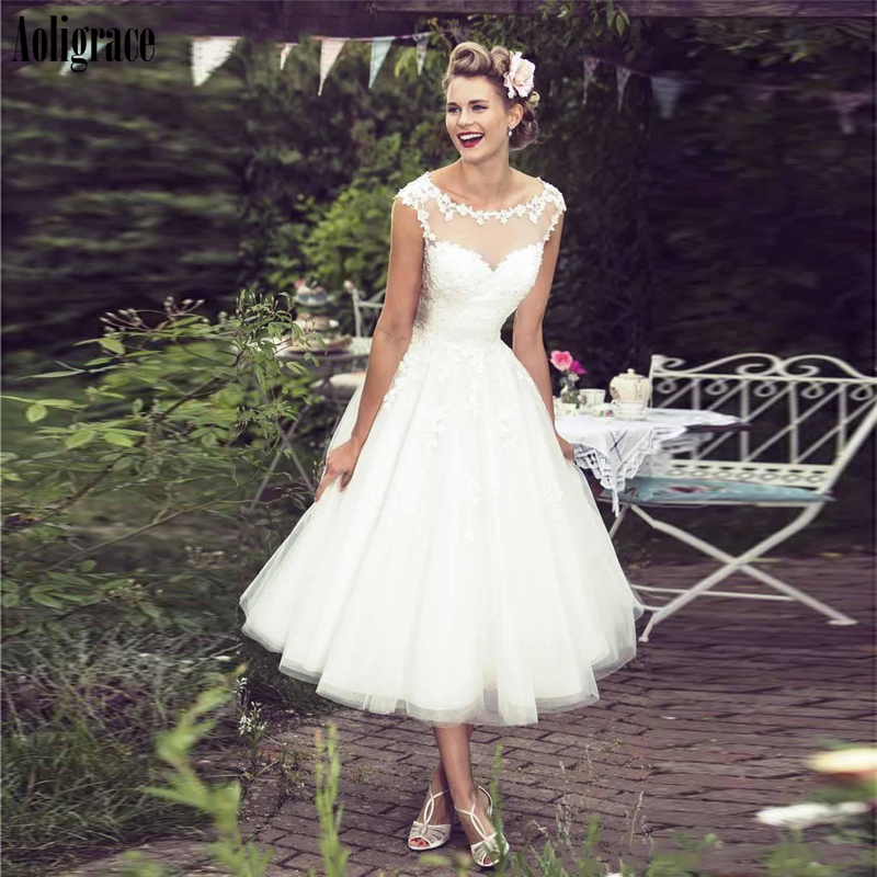 Aoligrace Ball Gowns Wedding Dresses For Bride Sheer Neck Illusion Appliques Backless Short Bridal Gowns Vestidoe De Noiva