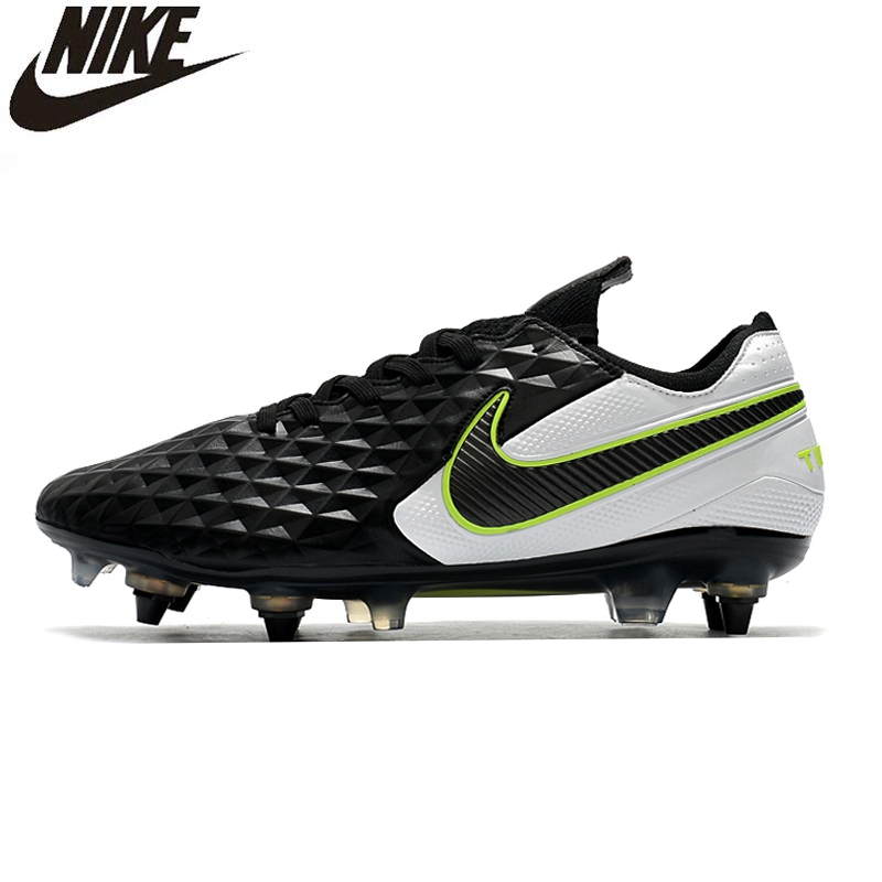 Nike Tiempo Legend 8 Elite SG-Pro AC Flyknit <font><b>360</b></font> Knit Sneakers Men Soccer Boots Low Cut Football Cleats <font><b>Shoes</b></font> Mans Blue Boots image