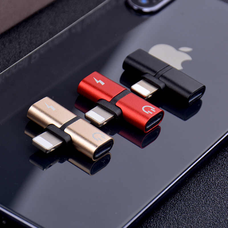 T בצורת אוזניות 2-in-1 כפול יציאת אוזניות adapte עבור iPhone 7 8 בתוספת X XS אודיו מטען אביזרי מתקן