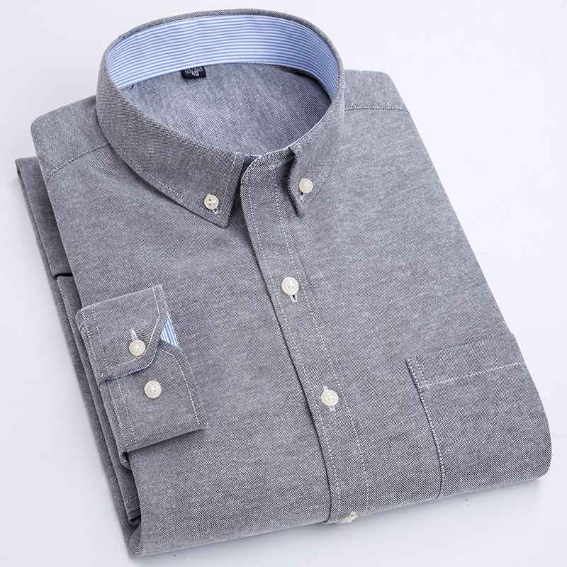2020 New Arrival Men Shirt Long Sleeve Oxford Fashion Causal Solid Twill Man Shirts Brand Clothes Soft Comfortable DS341
