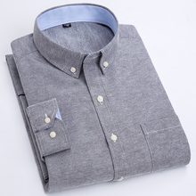 2020 New Arrival Men Shirt Long Sleeve Oxford Fashion Causal Solid Twill Man