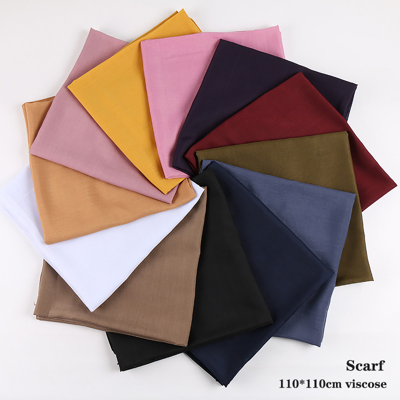 Classic Plain Cotton Viscose Big Square Scarf Bandana Kerchief Headscarf Solid Color Scarves 110x110cm