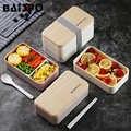 Baispo 2 отдел для еды коробка для контейнер для обеда ребенку японский стиль пластмассовая посуда школьные пластиковые Кухонные украшения Ак...