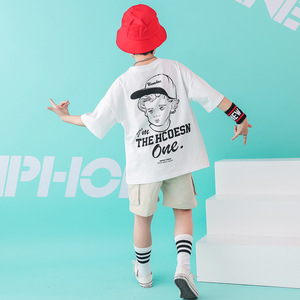 Image 3 - Kids Dance Wear Jazz Hip Hop Costumes for Girls Boys White T Shirt Short Pants Modern Show Clothes Wear Ballroom Dancing Costume