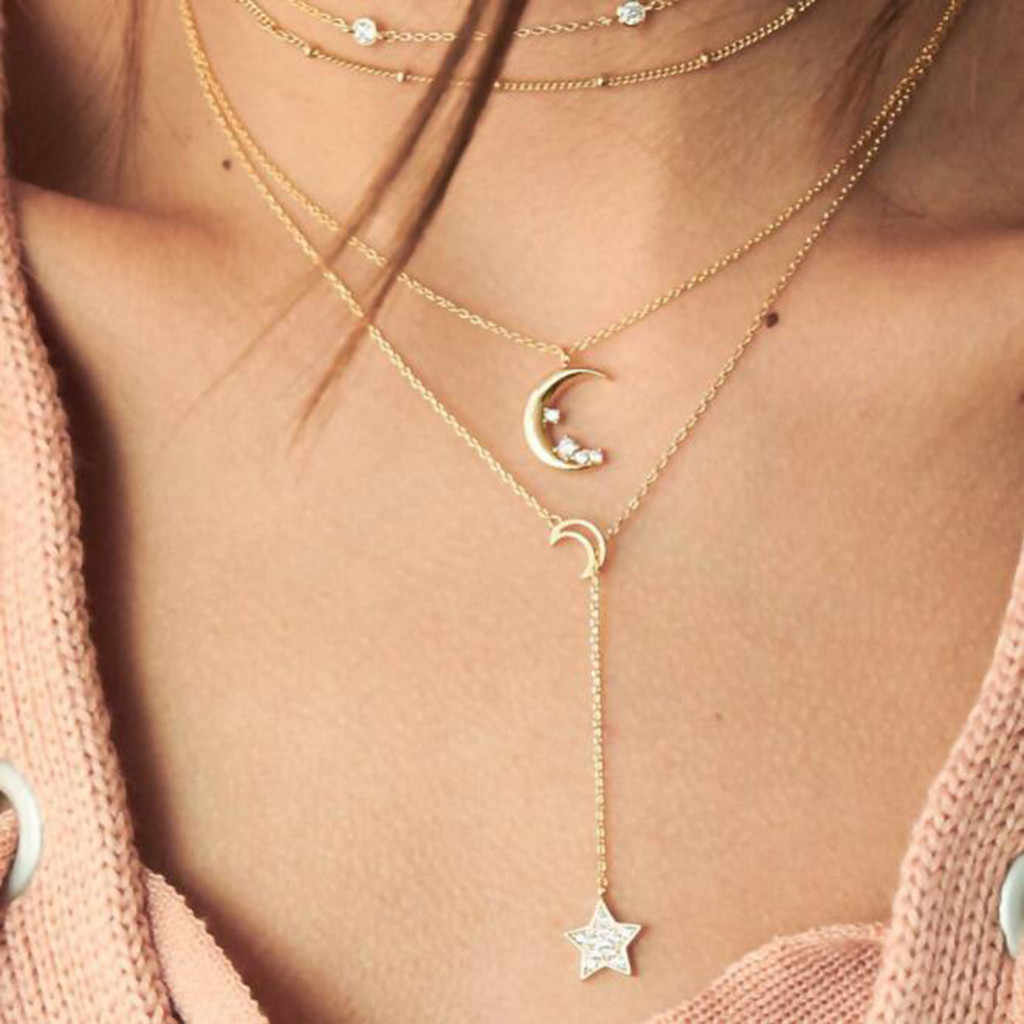Personality Metal Moon Star Sweater Chain Ms. Multilayer Necklace Jewelry Sweet Tassel Necklaces Women choker collares Wedding