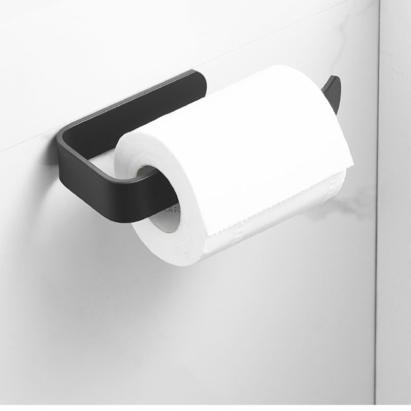 Black Wall Mounted Bathroom Toilet Paper Holder Towel Bar Rack Kitchen Roll Paper Accessories Tissue Towel Bathroom Accessories