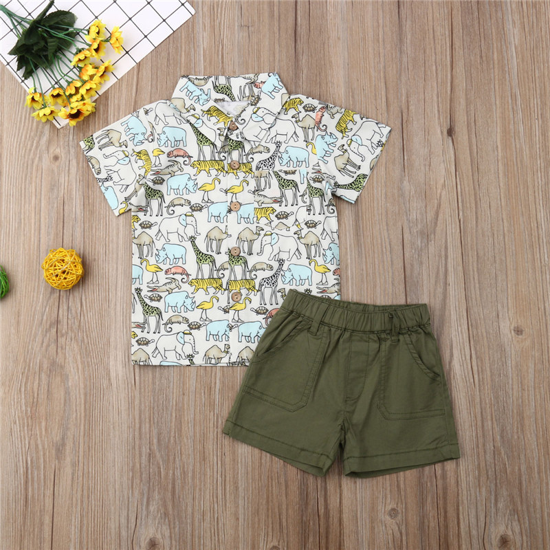 1Set Infant Baby Boy Fashion Print Tops+Shorts Set Suit Clothes Outfit  1-4Years