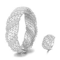 SisCathy Luxury Pave Zircon Micro inlay Bangle Ring Set For Women Party Wedding Saudi Arabic India Dubai Jewelry Sets 2019