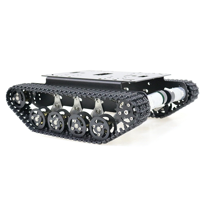 Black Shock Absorber Metal RC Robot Tank Chassis Kit with Track DC Motor Tracked Mobile Platform for Arduino Uno R3 Raspberry Pi