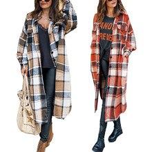Manteau en laine à col rabattu pour femme, nouveau Style, automne, longues chemises, vestes, Plaid, manches longues, 2021