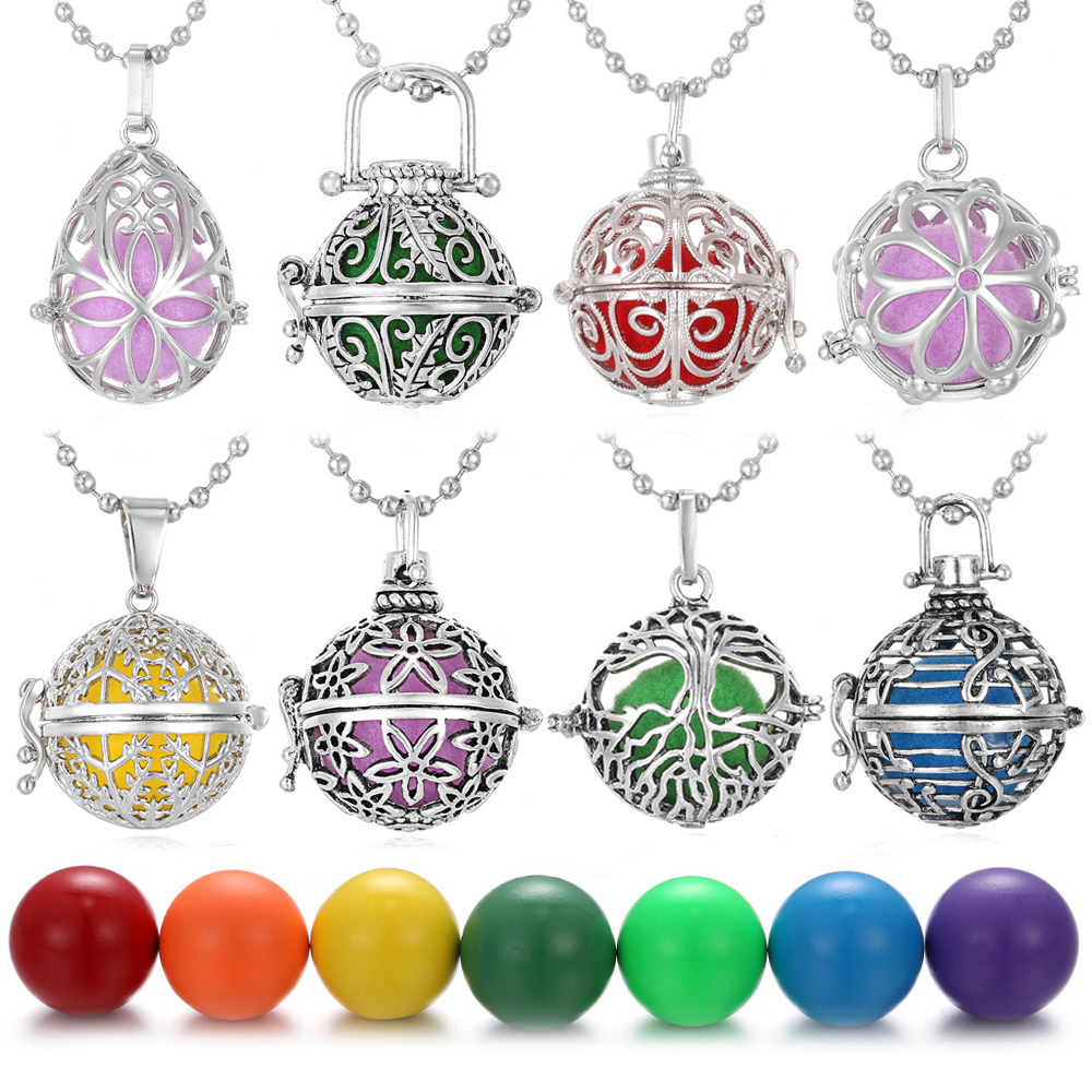 New Fashion Music Ball Vintage Aromatherapy Diffuser Locket Pendant Necklace Perfume Essential Oil Diffuser Locket DIY Jewelry in Pendant Necklaces from Jewelry Accessories