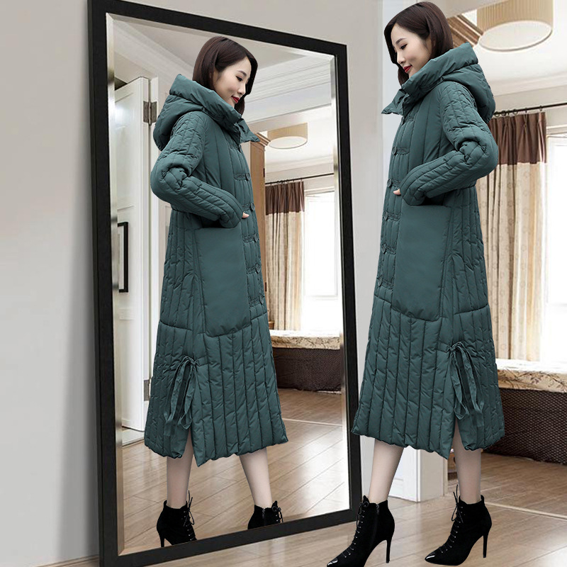 2019 Hooded Cotton-padded Clothes Thick Warm Over-the-Knee Lace-up Fashion Korean-style Hooded Loose-Fit Over-the-Knee Mid-lengt