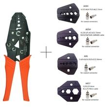 Коаксиальный обжимной плоскогубцы RG6 RG55 RG58 RG59 LMR400 щипцы для кабеля SMA/BNC обжимной инструмент из углеродистой стали храповик инструмент ручной инструмент многофункциональный инструмент