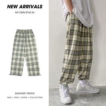 Summer Plaid Pants Mens Fashion Retro Casual Men Streetwear Wild Loose Drawstring Straight  Joggers S-2XL