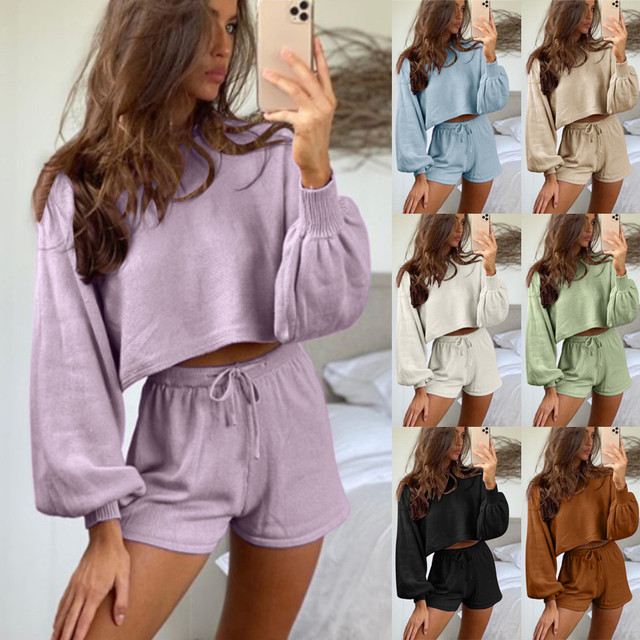 Fashion Suit Tracksuit Outfit Set Women O-neck Long Sleeve Crop Tops Drawstring Shorts Two Piece Suit Casual Solid Color Women 6