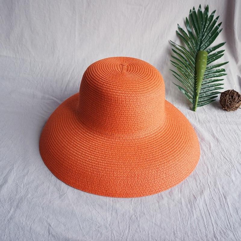 Vintage SunShade Hat Ladies Pure Color Hepburn Style Holiday 56-58CM Elegant Temperament Summer Fashion High Quality Straw Hat