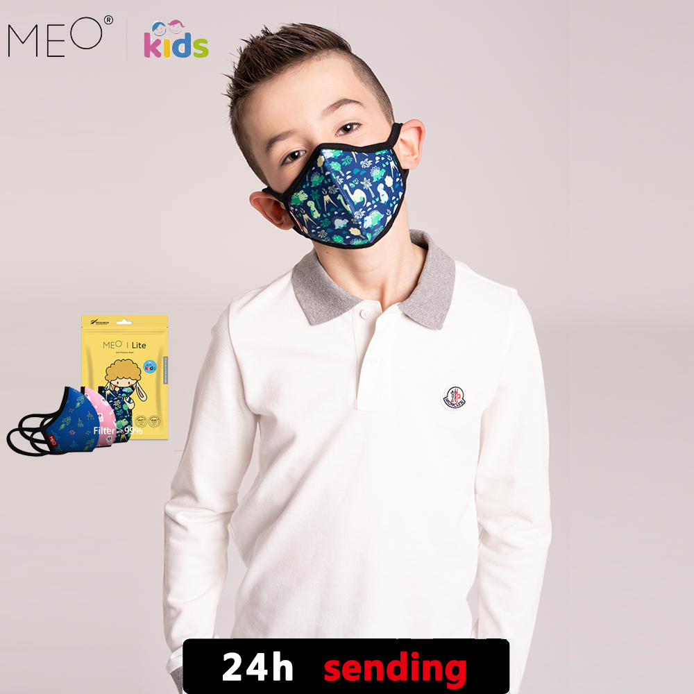 MEO Children's Masks Anti Haze Dust PM0.1 Breathable And Washable Boys And Girls Made In New Zealand Blue Pink For Kids Sheep