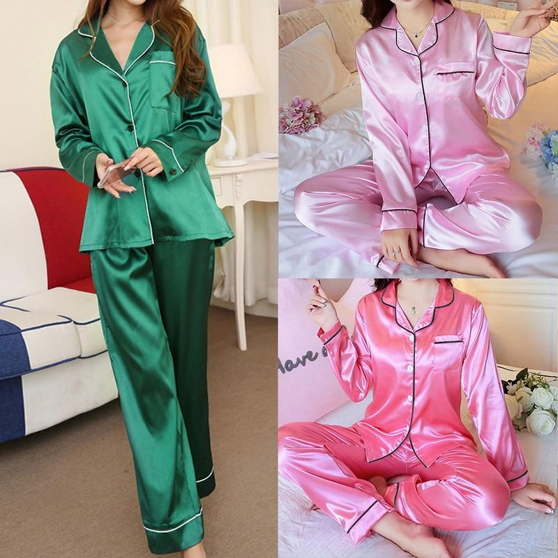 Ensemble Pyjamas 2 pièces en soie à manches longues