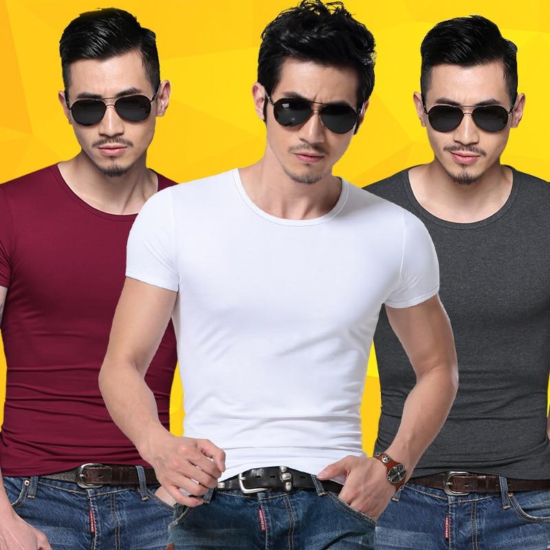Men Tshirt Spandex Fitness Gym Clothing Man Tops Tees T Shirt For Male Solid Color Tshirts multi Colors T-Shirt XS-XXL 1