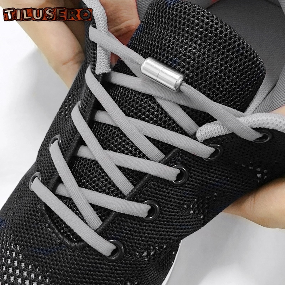 1Pair Quick Lazy Laces Round Elastic No tie Shoe Laces For Kids and Adult Sneakers Shoelace