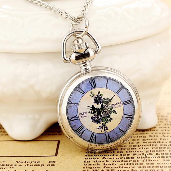 2019New Products Women Pocket Watch High Quality Steampunk Necklace Pendant Quartz Pocket Watch Fashion  Print  Relogio Feminino