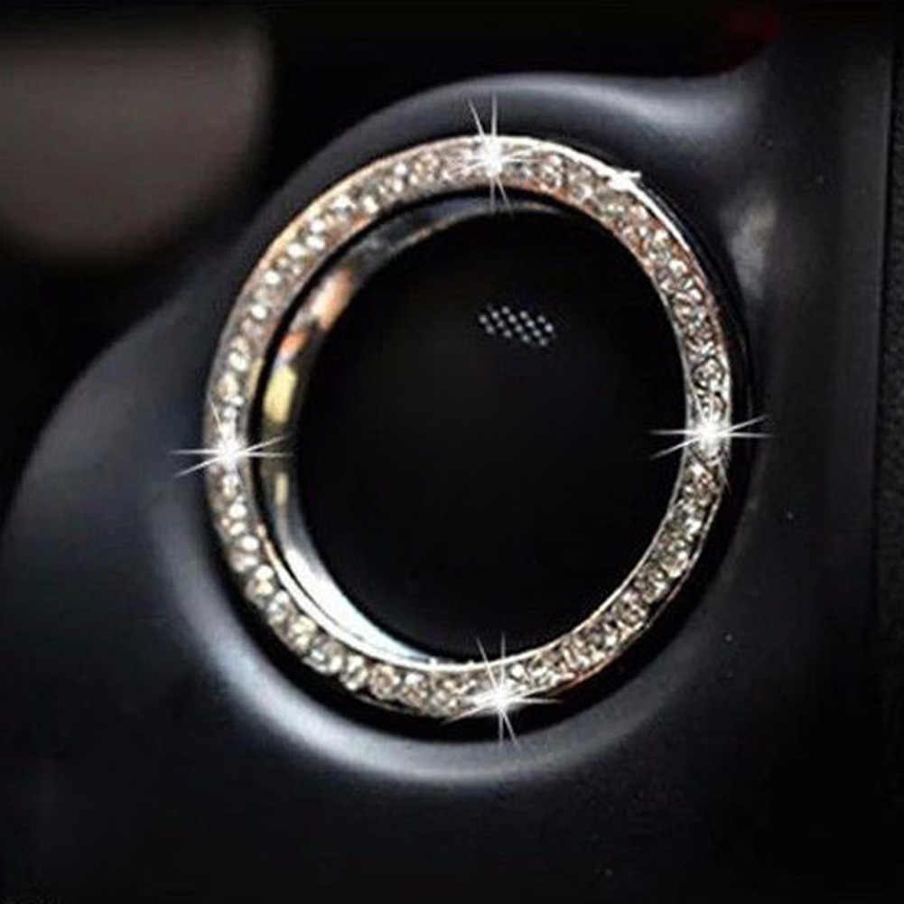 Nieuwe Roze Auto Interieur Een-Key Engine Start Stop Ignition Drukknop Decoratieve Diamante Ring Voor Alle Auto 'S