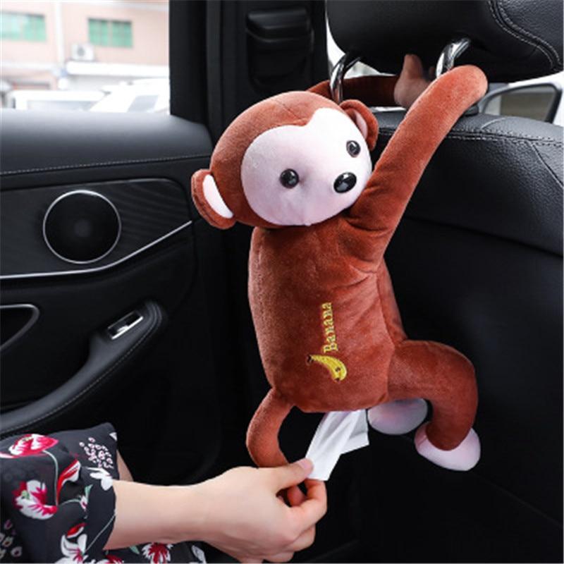 1PC Cartoon Paper Napkin Tissue Box Case Cute Monkey Animals Styles Car Armrest Interior Accessories Home Bathroom Tissue Box