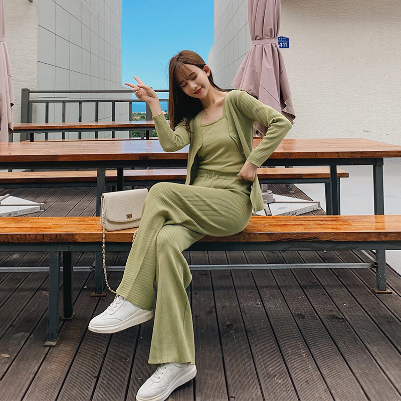 WOMEN'S Suit 2019 New Style Autumn Korean-style Knitted Cardigan + Dungaree Shirt + Straight-Cut Loose Pants Three-piece Set F75