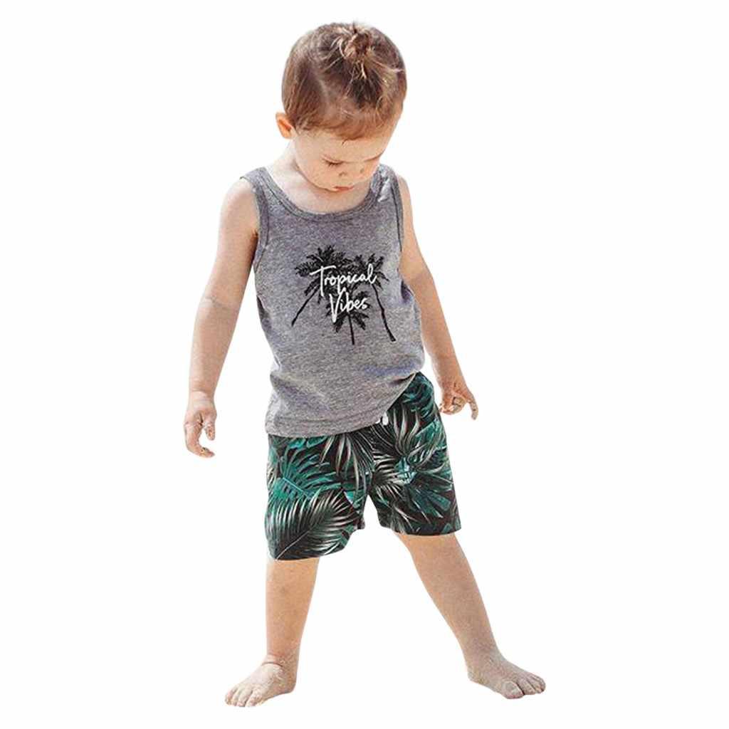 Dzieci Boys Baby dziewczyny moda sportowa maluch kostium plażowy bez rękawów list drukuj kamizelka podkoszulki + zestaw szortów ćwiczenia koszula Top #35