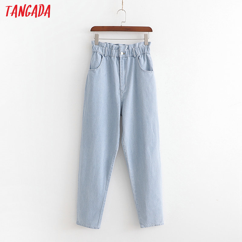 Tangada Fashion Women Blue Jeans High Waist Pockets Denim Long Trousers 2019 Cozy Female Casual Pants Pantalones 1D359