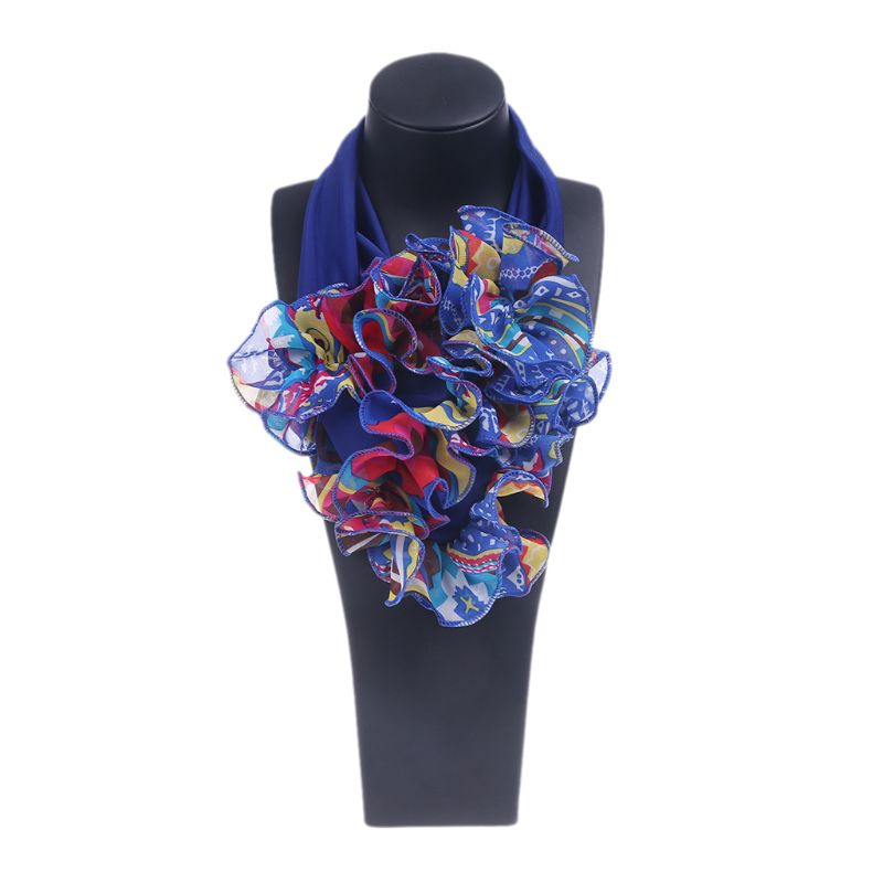 Womens Floral Collar Scarf Luxury Flower Printed Neckerchief Ring Neck Scarves 517D