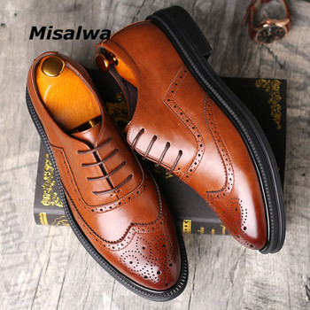 Misalwa Height Increase Brown Leather Men Dress Shoes Groomsman Wedding Elevator Brogue Formal Oxford Winter Plush Flats - discount item  48% OFF Men's Shoes