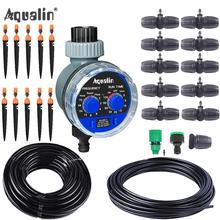 Micro Drip Plant Watering Kit DIY Garden Irrigation Mist Cooling System with Adjustable Nozzles and Water Timer Package cheap Aqualin CN(Origin) 26301-9 Plastic Watering Kits