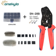 SN-28B dupont mini crimp plier 0.1-1mm² with 620pcs 2.54mm dupont cable jumper wire Pin Header Housing,terminals clamp kit tool