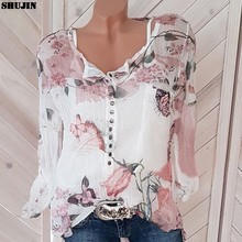 SHUJIN 5XL Print Oversized Blouses Shirts Women Casual Spring Autumn Long Sleeve Floral V-Neck Button Female Tops Blouse New(China)