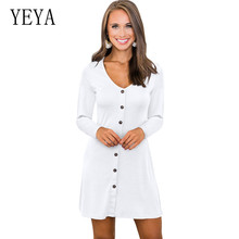 YEYA Trendy Explosion-proof Multi-button Solid Rib Dress Long Sleeve O-neck Elegant Sexy Short Women Casual Robe Femme